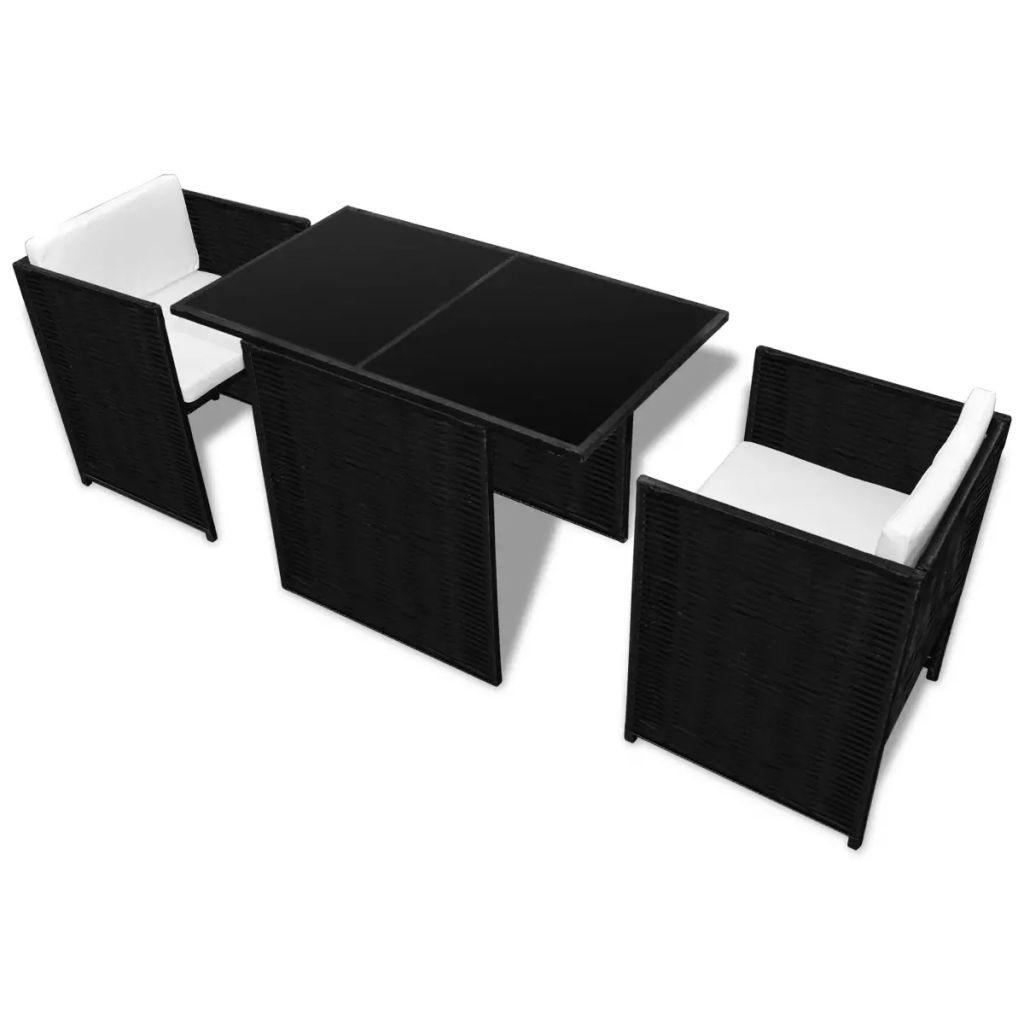 3 Piece Bistro Set with Cushions Poly Rattan Black 4