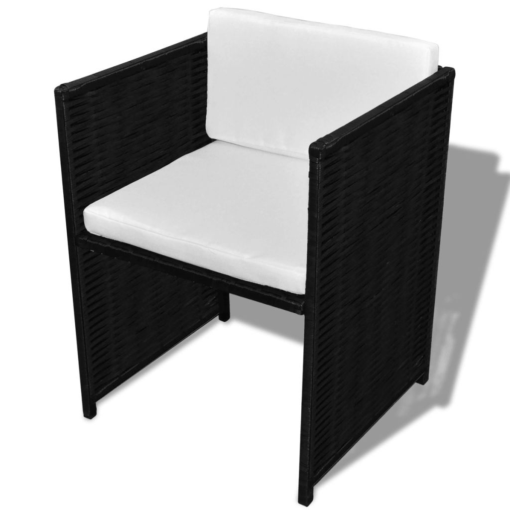 3 Piece Bistro Set with Cushions Poly Rattan Black 7