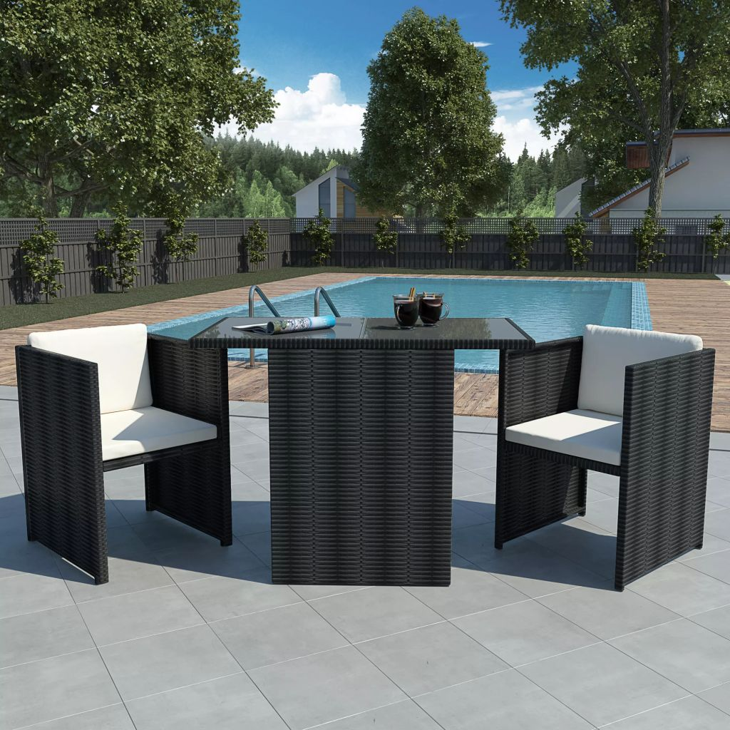 3 Piece Bistro Set with Cushions Poly Rattan Black 1