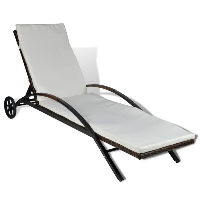 Sun Lounger with Cushion & Wheels Poly Rattan Brown 2