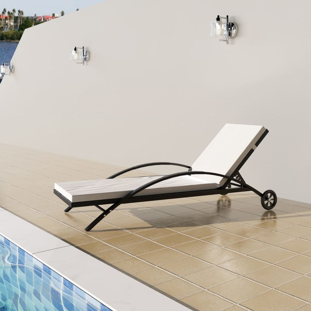 Sun Lounger with Cushion & Wheels Poly Rattan Black 1