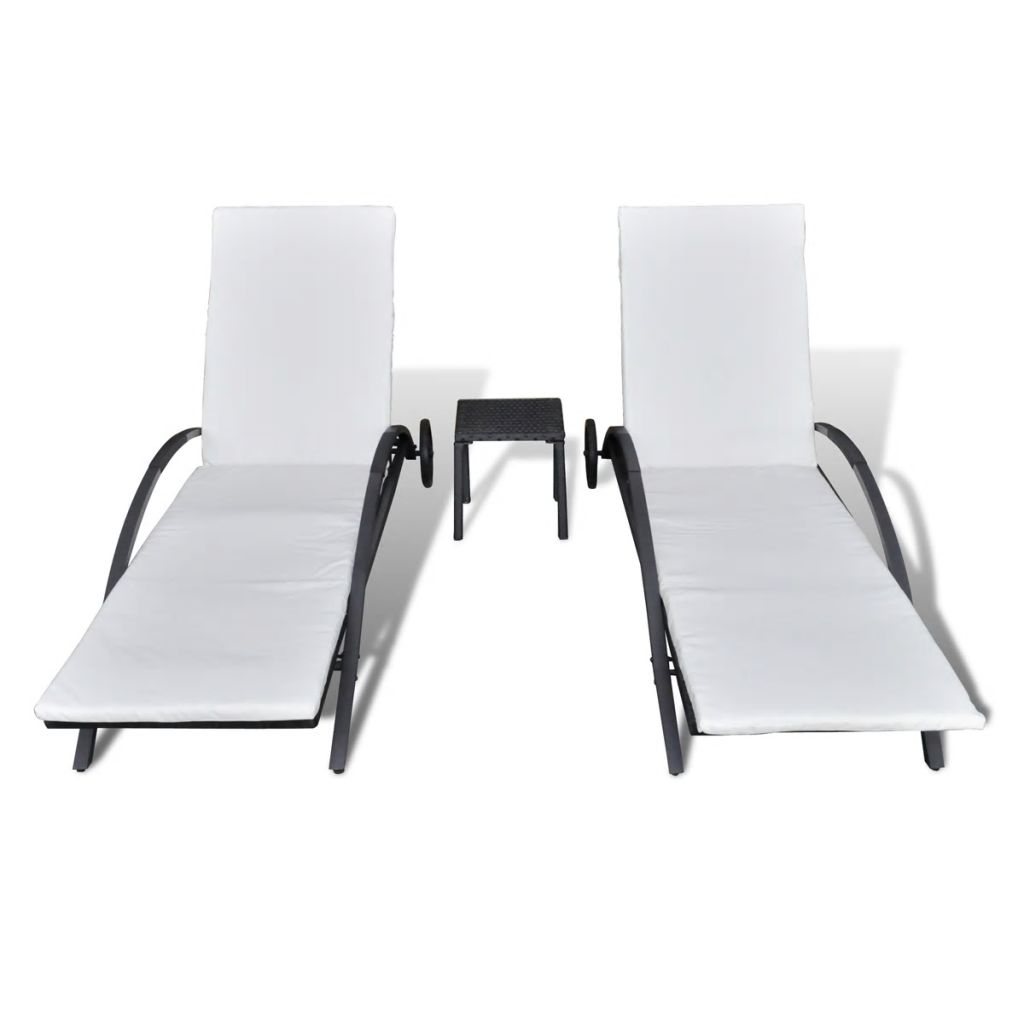 Sun Loungers with Table Poly Rattan Black 3