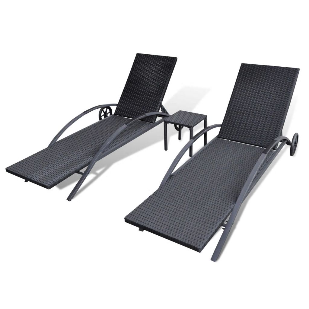 Sun Loungers with Table Poly Rattan Black 5