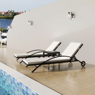 Sun Loungers with Table Poly Rattan Black 1