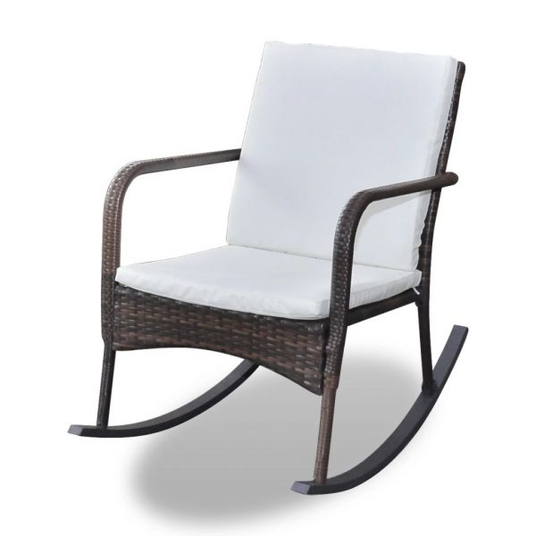Outdoor Rocking Chair Brown Poly Rattan 2