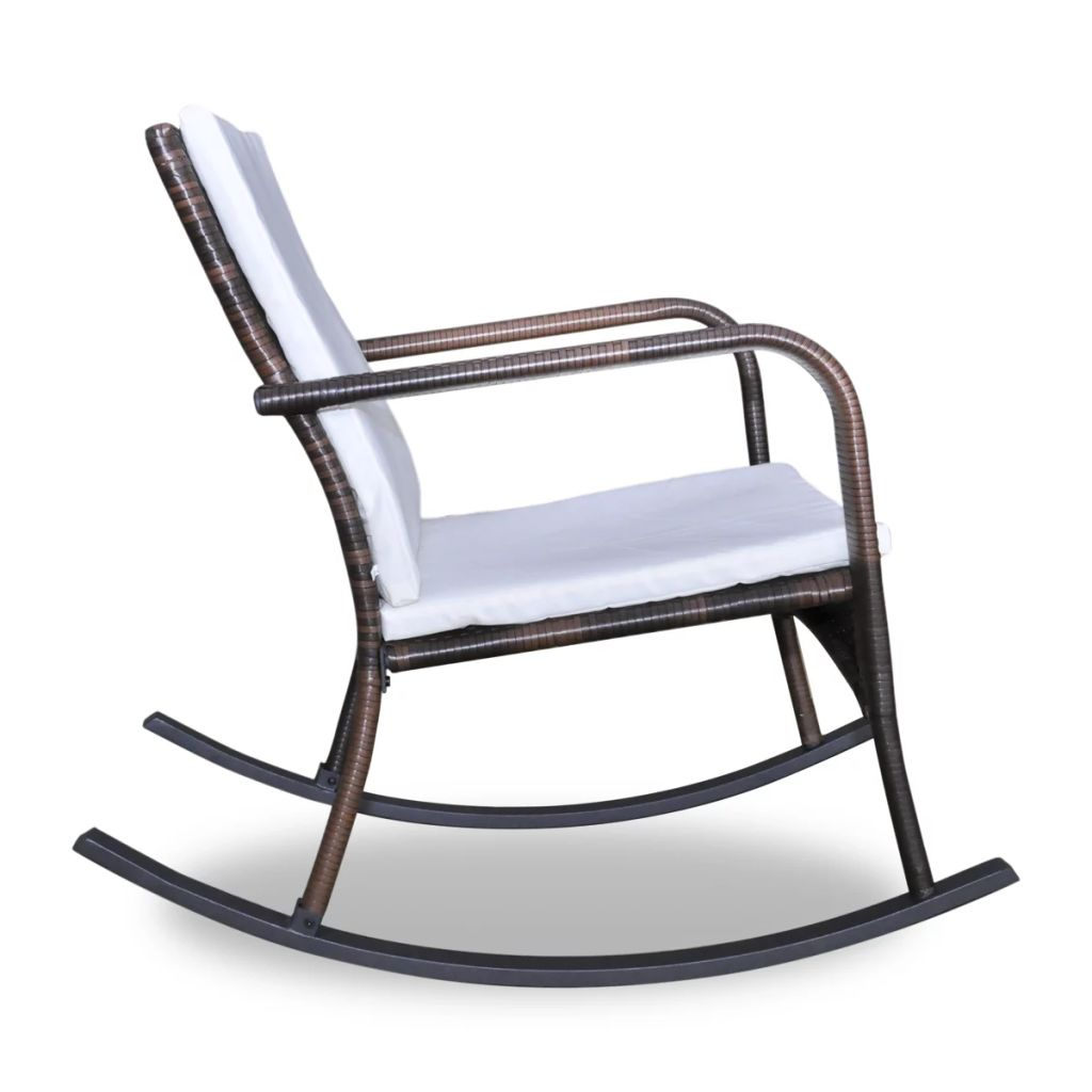 Outdoor Rocking Chair Brown Poly Rattan 3