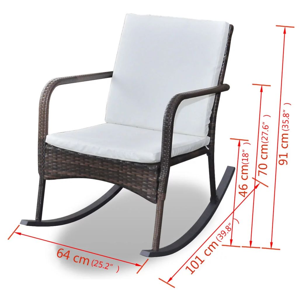 Outdoor Rocking Chair Brown Poly Rattan 4
