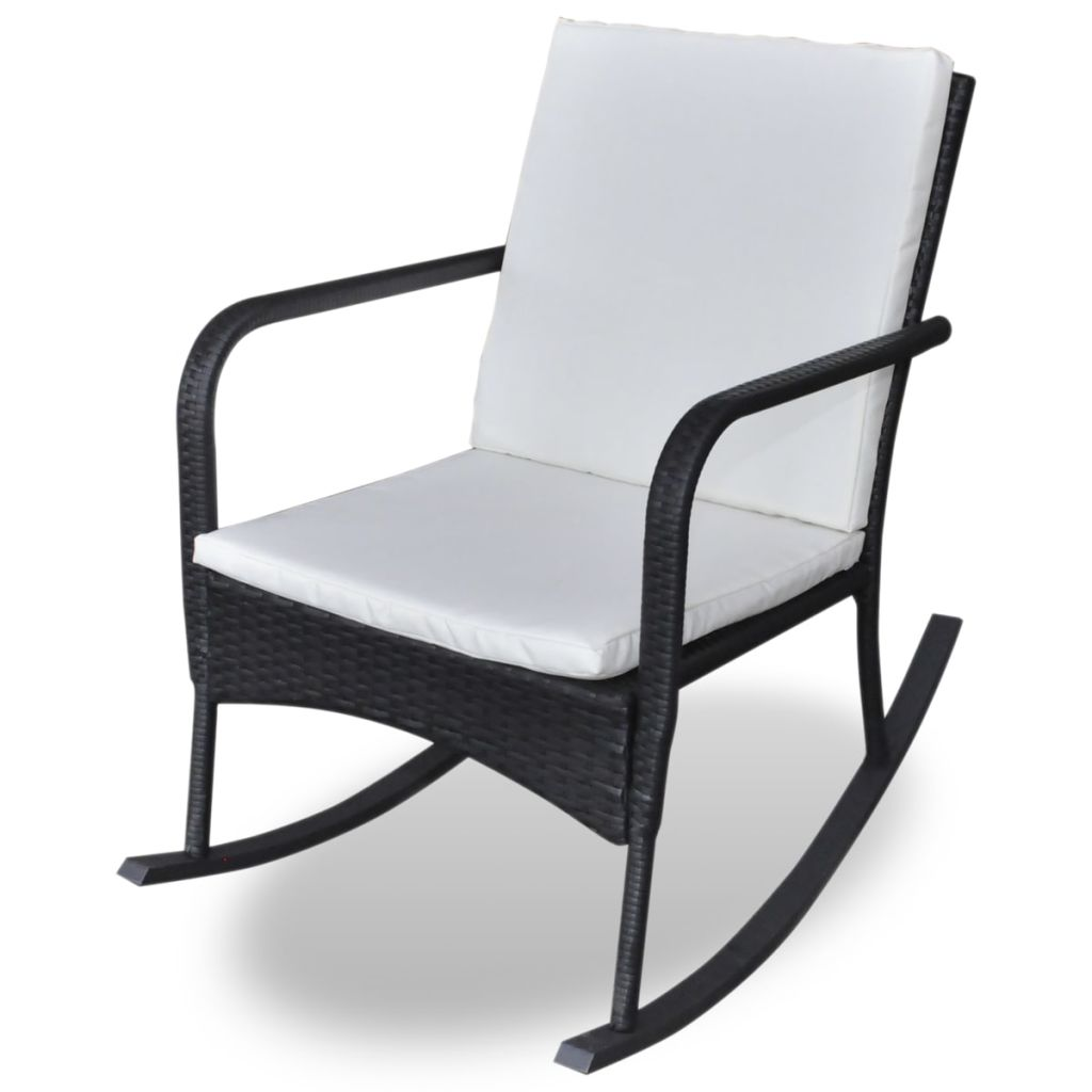 Outdoor Rocking Chair Black Poly Rattan 2