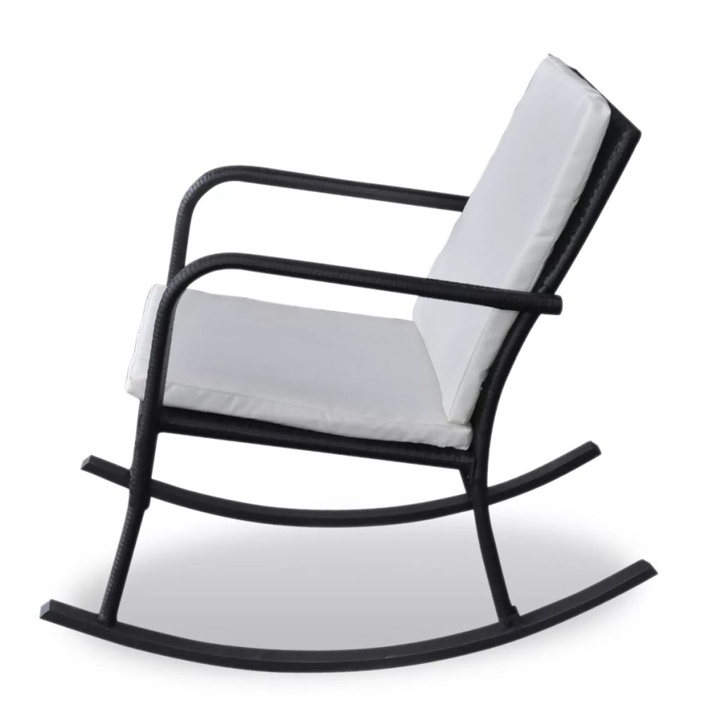 Outdoor Rocking Chair Black Poly Rattan 3