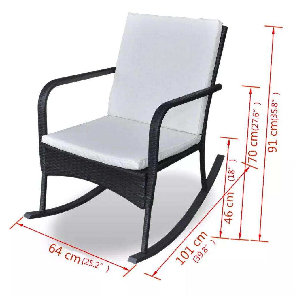 Outdoor Rocking Chair Black Poly Rattan 4