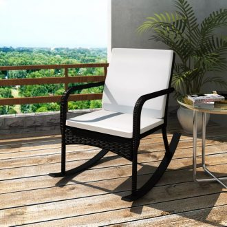Outdoor Rocking Chair Black Poly Rattan 1