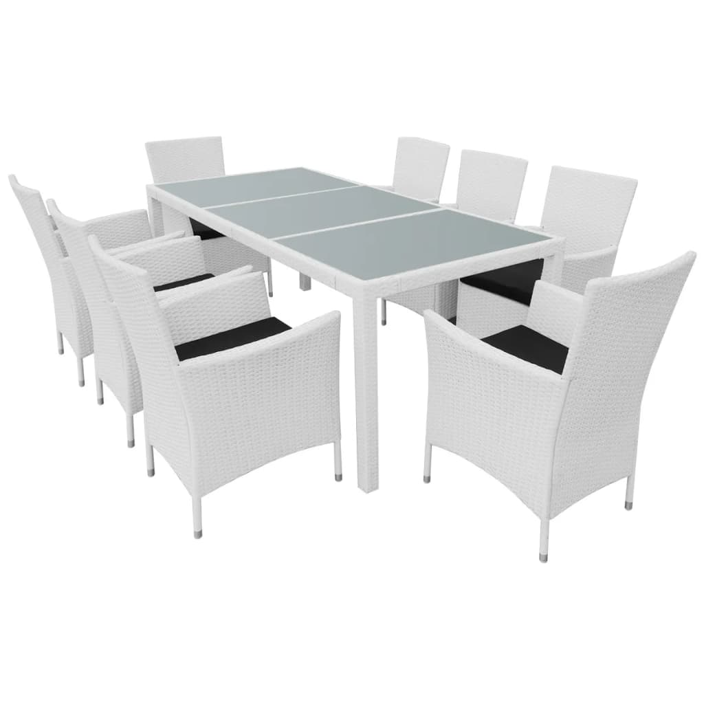9 Piece Outdoor Dining Set Poly Rattan Cream White 2