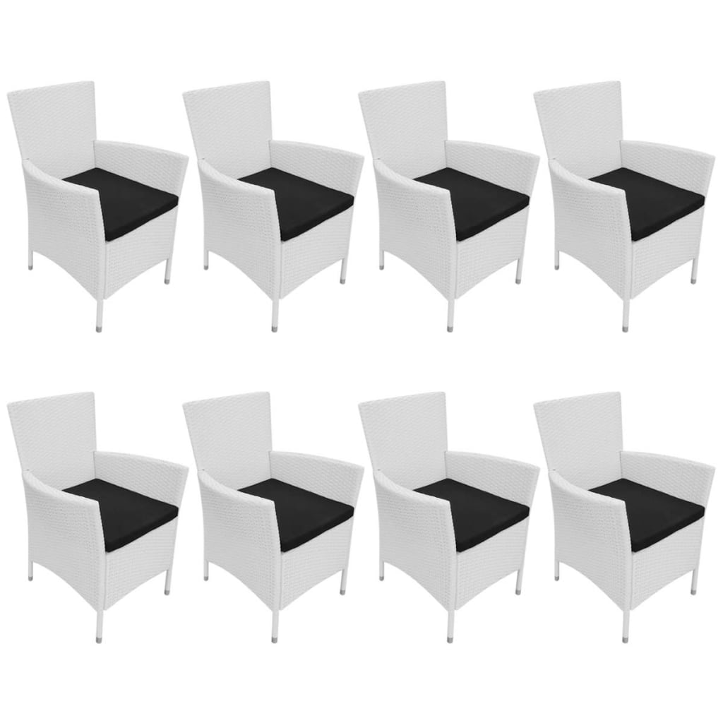9 Piece Outdoor Dining Set Poly Rattan Cream White 5