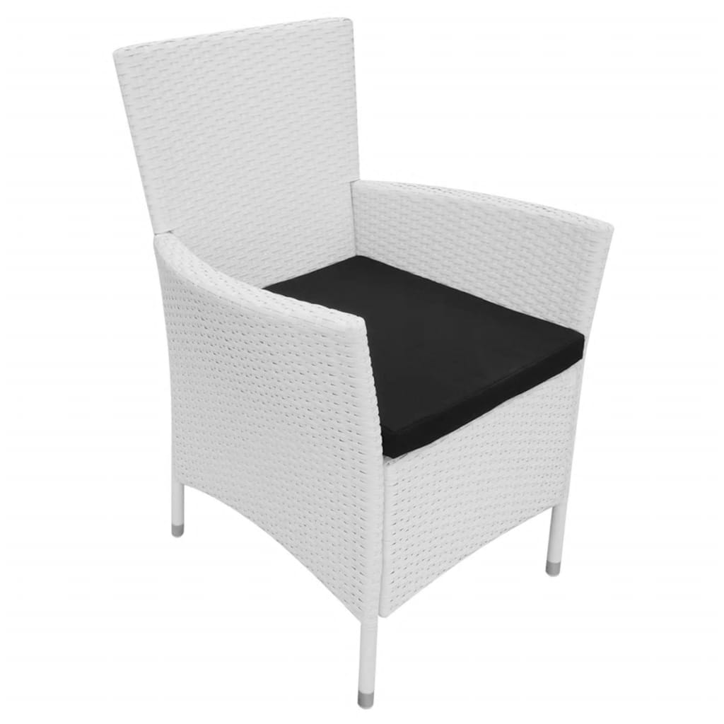 9 Piece Outdoor Dining Set Poly Rattan Cream White 6