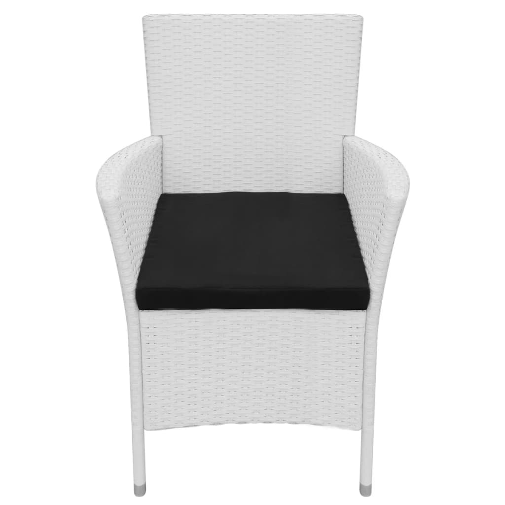 9 Piece Outdoor Dining Set Poly Rattan Cream White 7