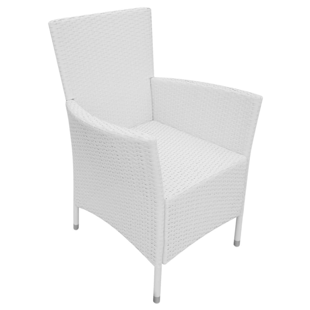9 Piece Outdoor Dining Set Poly Rattan Cream White 9