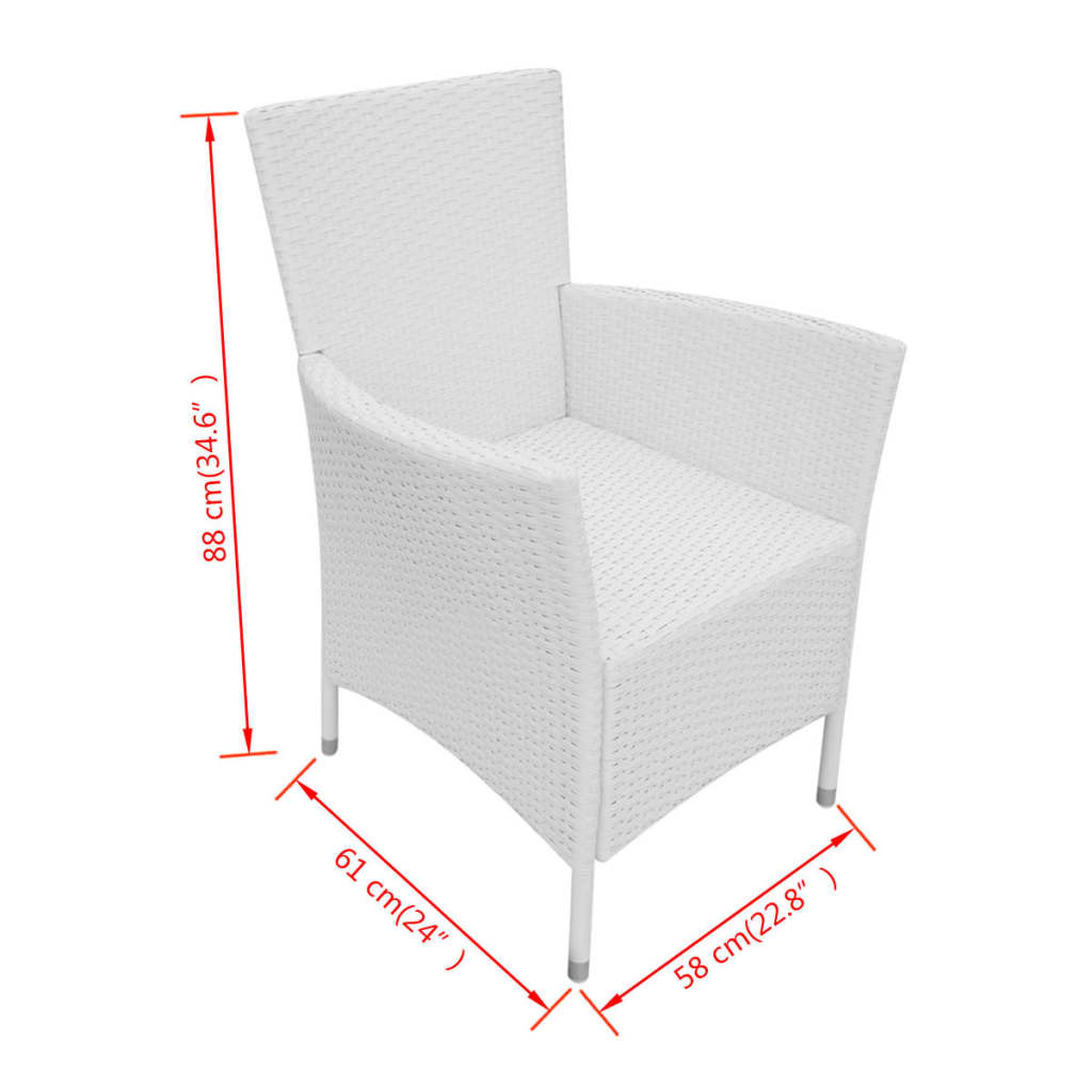9 Piece Outdoor Dining Set Poly Rattan Cream White 11