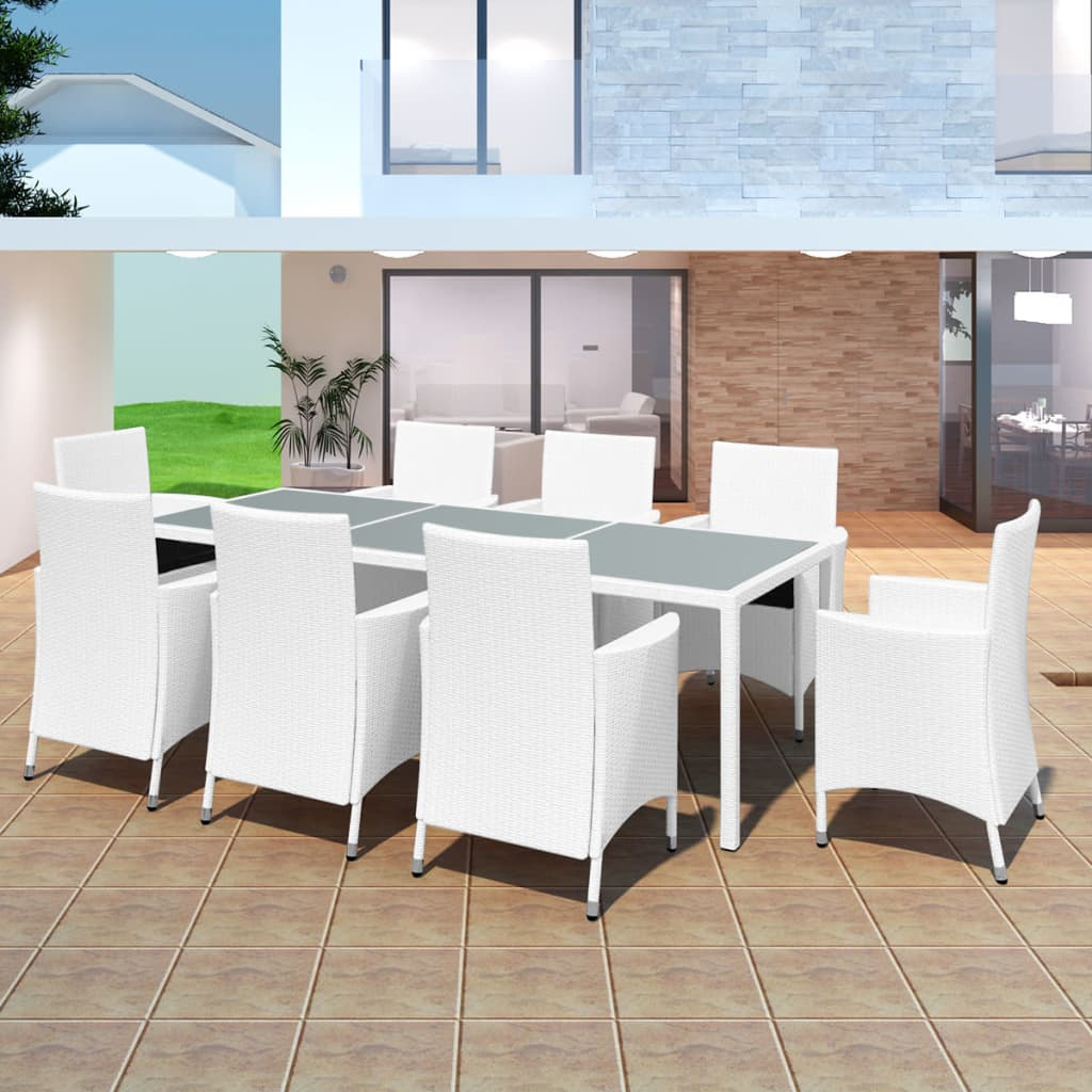 9 Piece Outdoor Dining Set Poly Rattan Cream White 1