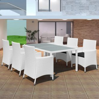 7 Piece Outdoor Dining Set Poly Rattan Cream White 1