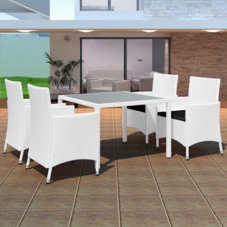 5 Piece Outdoor Dining Set Poly Rattan Cream White 1