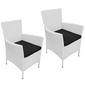 Garden Chairs 2 pcs with Cushions Poly Rattan Cream White 1