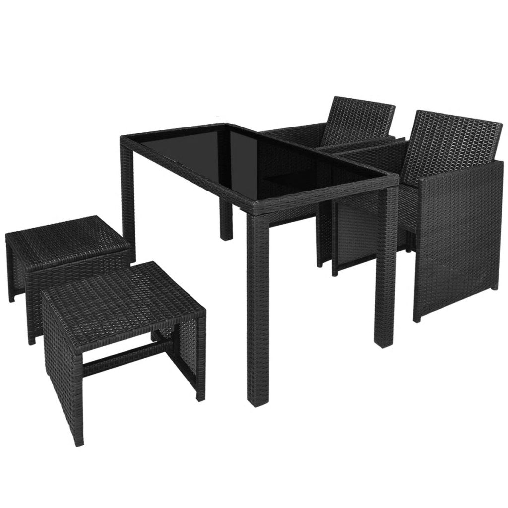 5 Piece Outdoor Dining Set with Cushions Poly Rattan Black 4