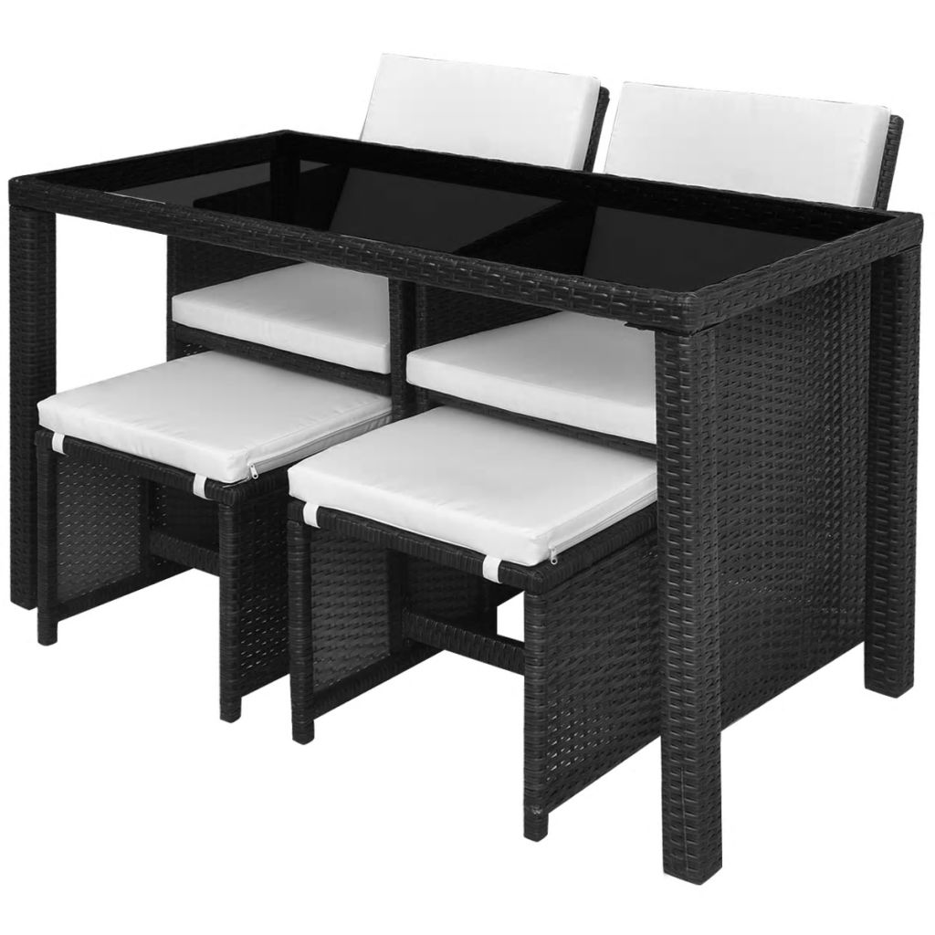 5 Piece Outdoor Dining Set with Cushions Poly Rattan Black 5