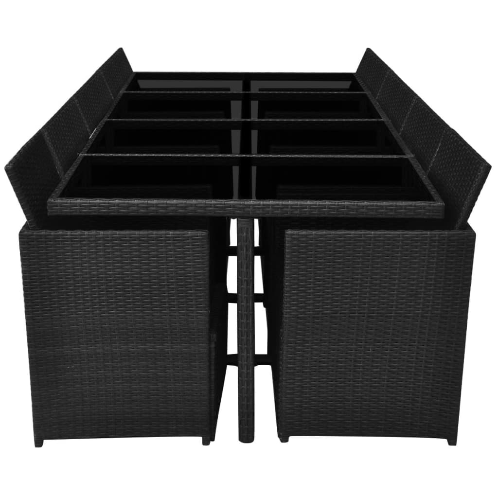 13 Piece Outdoor Dining Set with Cushions Poly Rattan Black 5