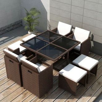 9 Piece Outdoor Dining Set with Cushions Poly Rattan Brown 1