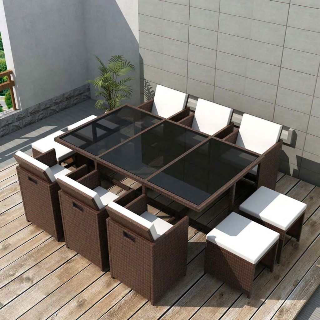 11 Piece Outdoor Dining Set with Cushions Poly Rattan Brown 1