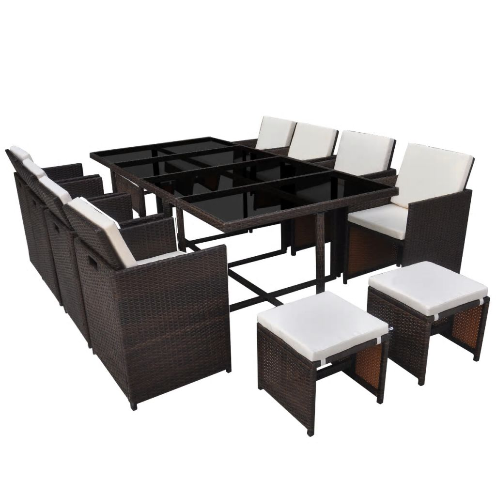 13 Piece Outdoor Dining Set with Cushions Poly Rattan Brown 2