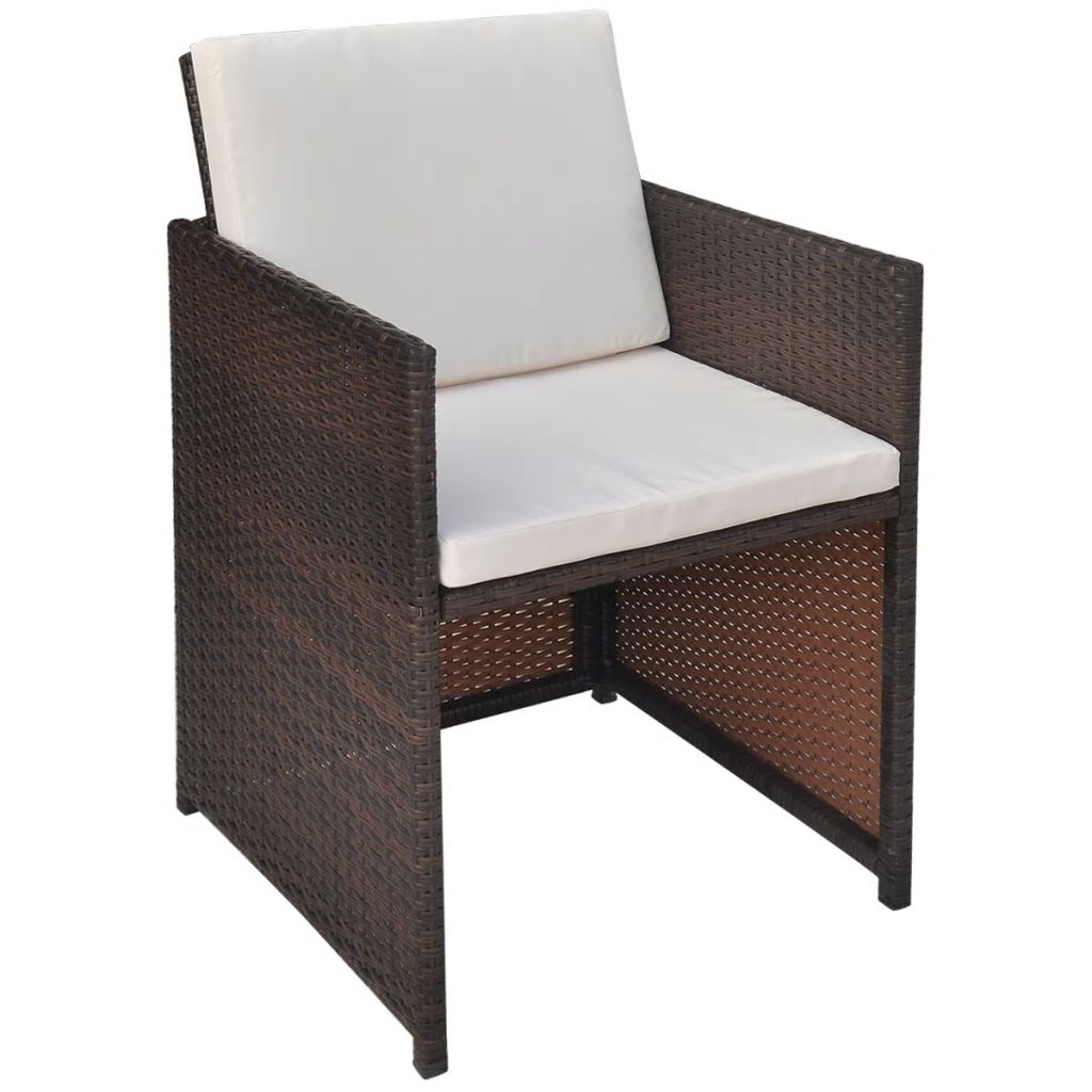 13 Piece Outdoor Dining Set with Cushions Poly Rattan Brown 7
