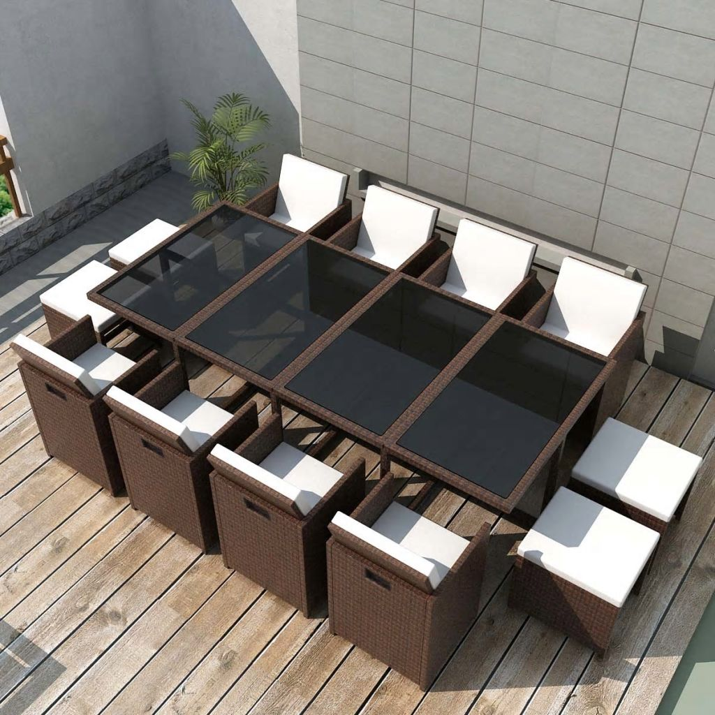 13 Piece Outdoor Dining Set with Cushions Poly Rattan Brown 1