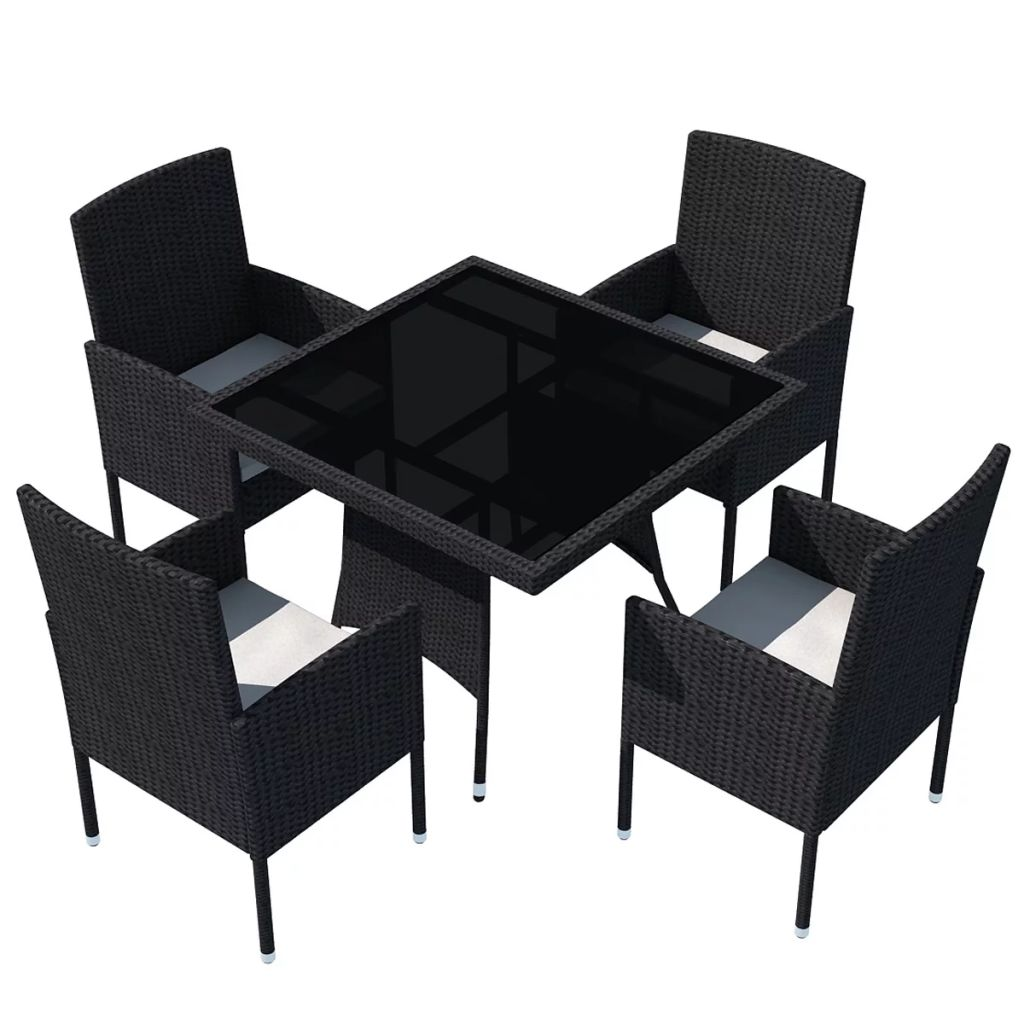 5 Piece Outdoor Dining Set with Cushions Poly Rattan Black 2