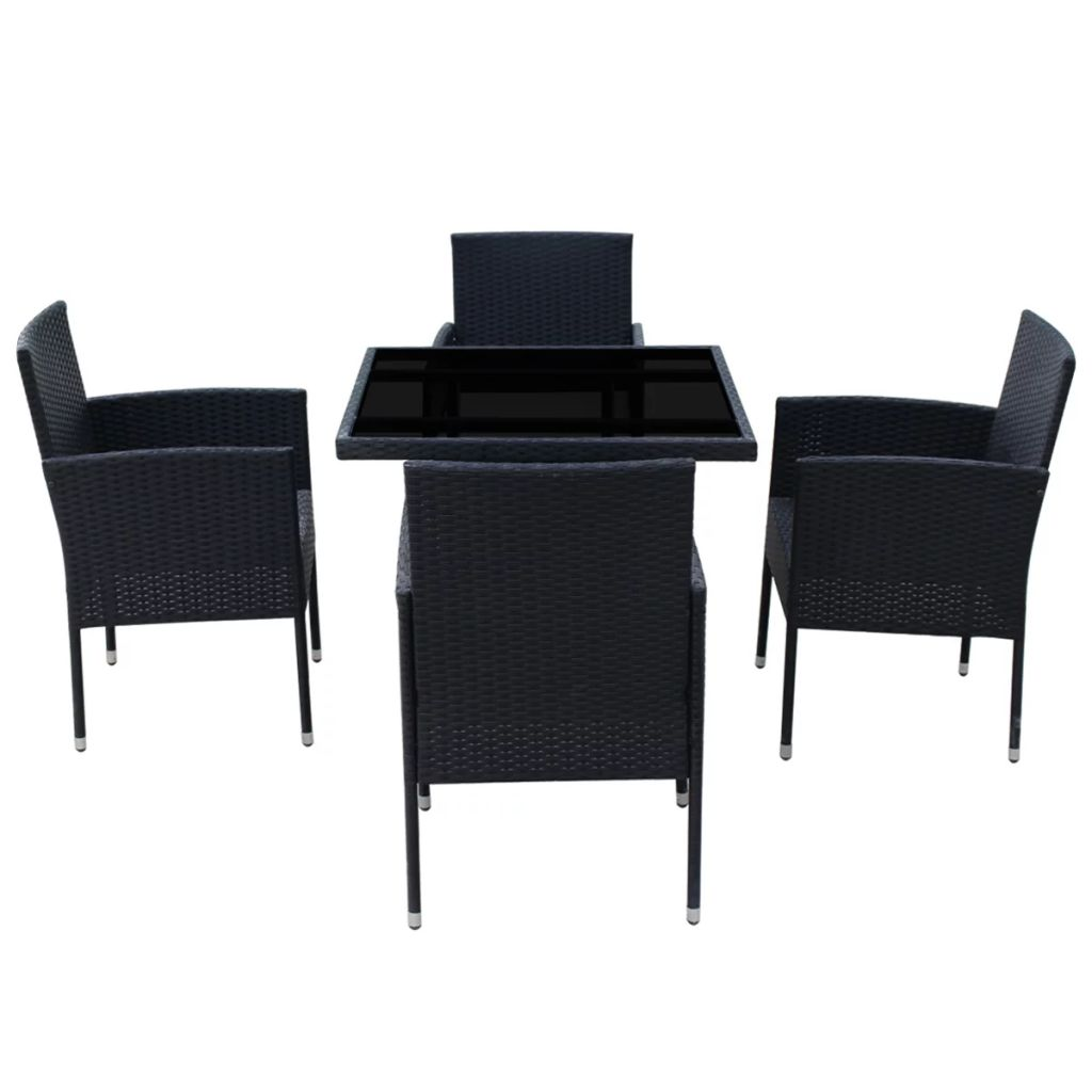 5 Piece Outdoor Dining Set with Cushions Poly Rattan Black 3