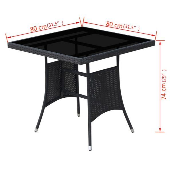 5 Piece Outdoor Dining Set with Cushions Poly Rattan Black 7