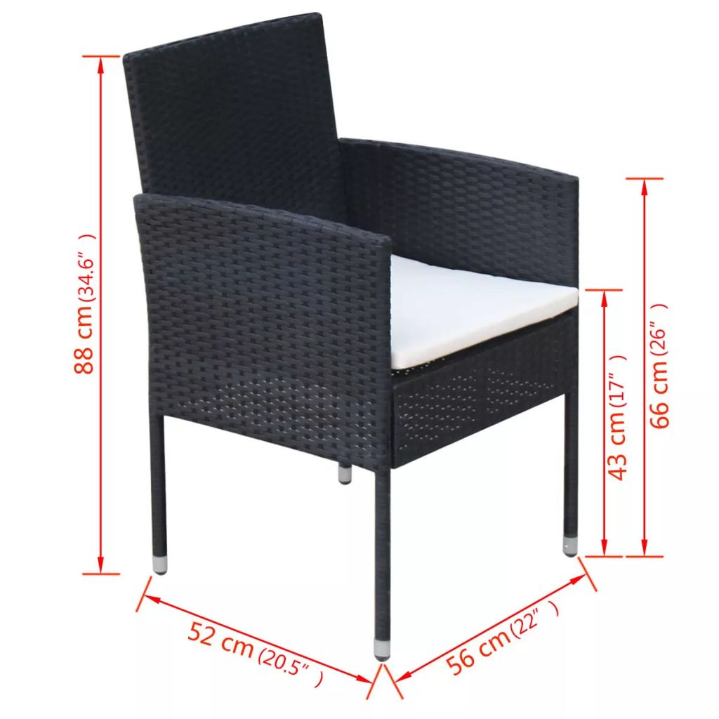 5 Piece Outdoor Dining Set with Cushions Poly Rattan Black 8