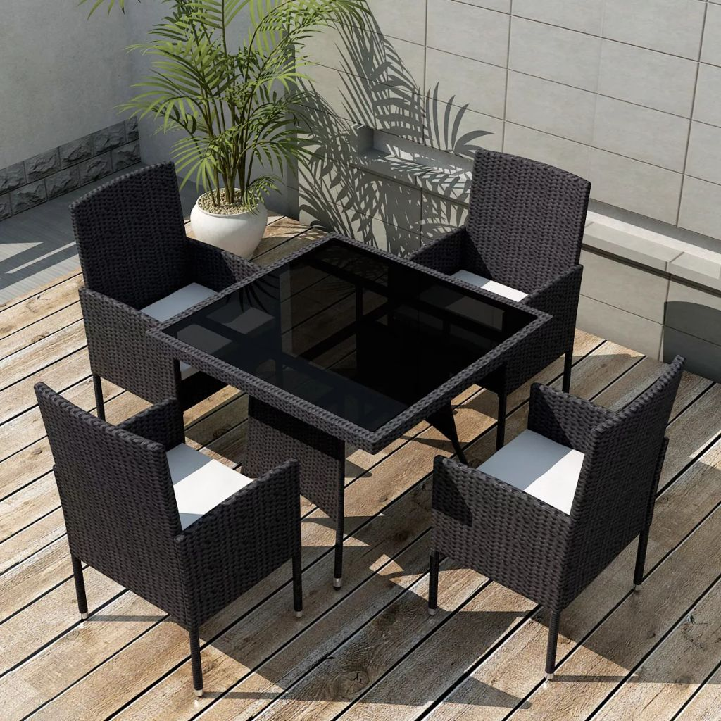 5 Piece Outdoor Dining Set with Cushions Poly Rattan Black 1