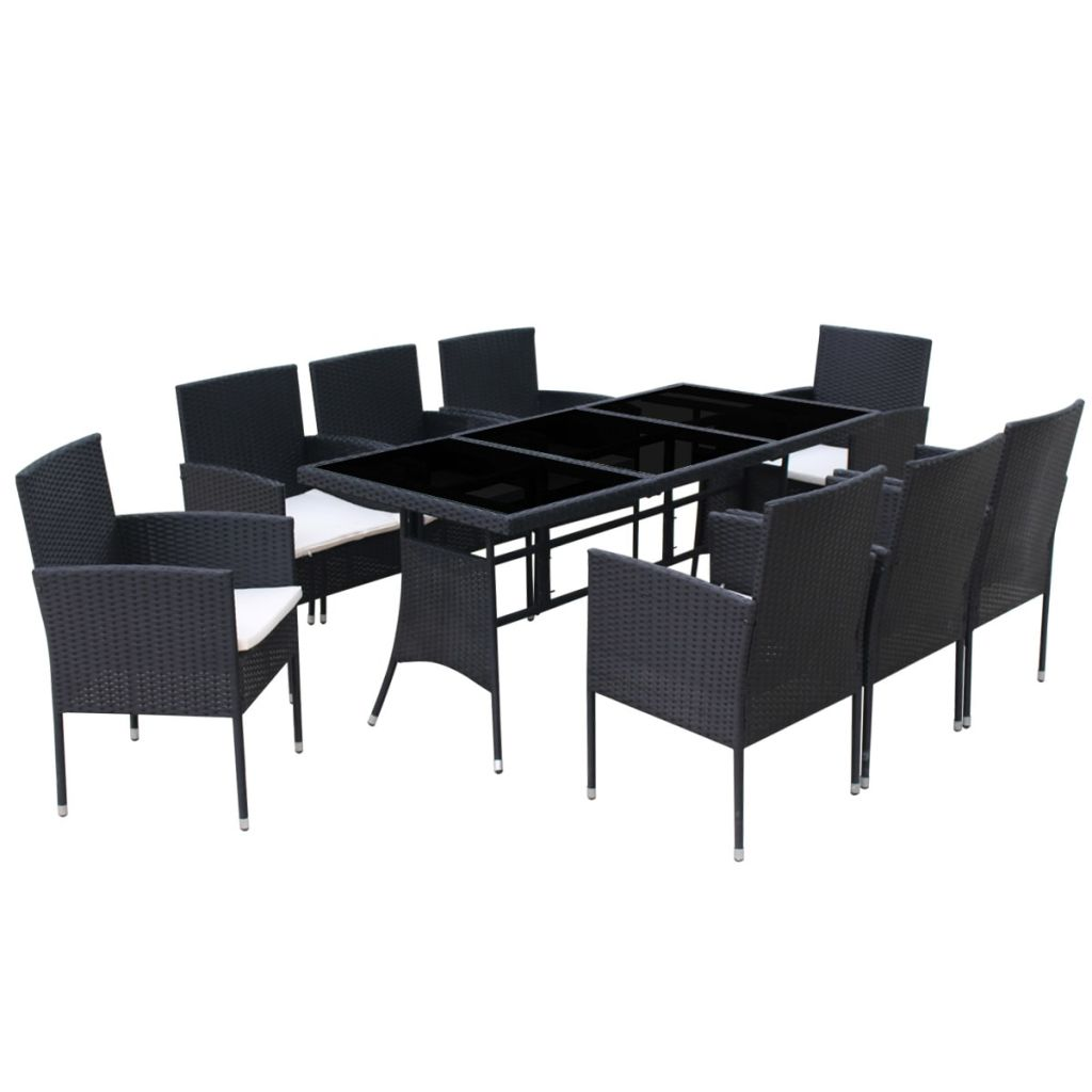 9 Piece Outdoor Dining Set with Cushions Poly Rattan Black 4
