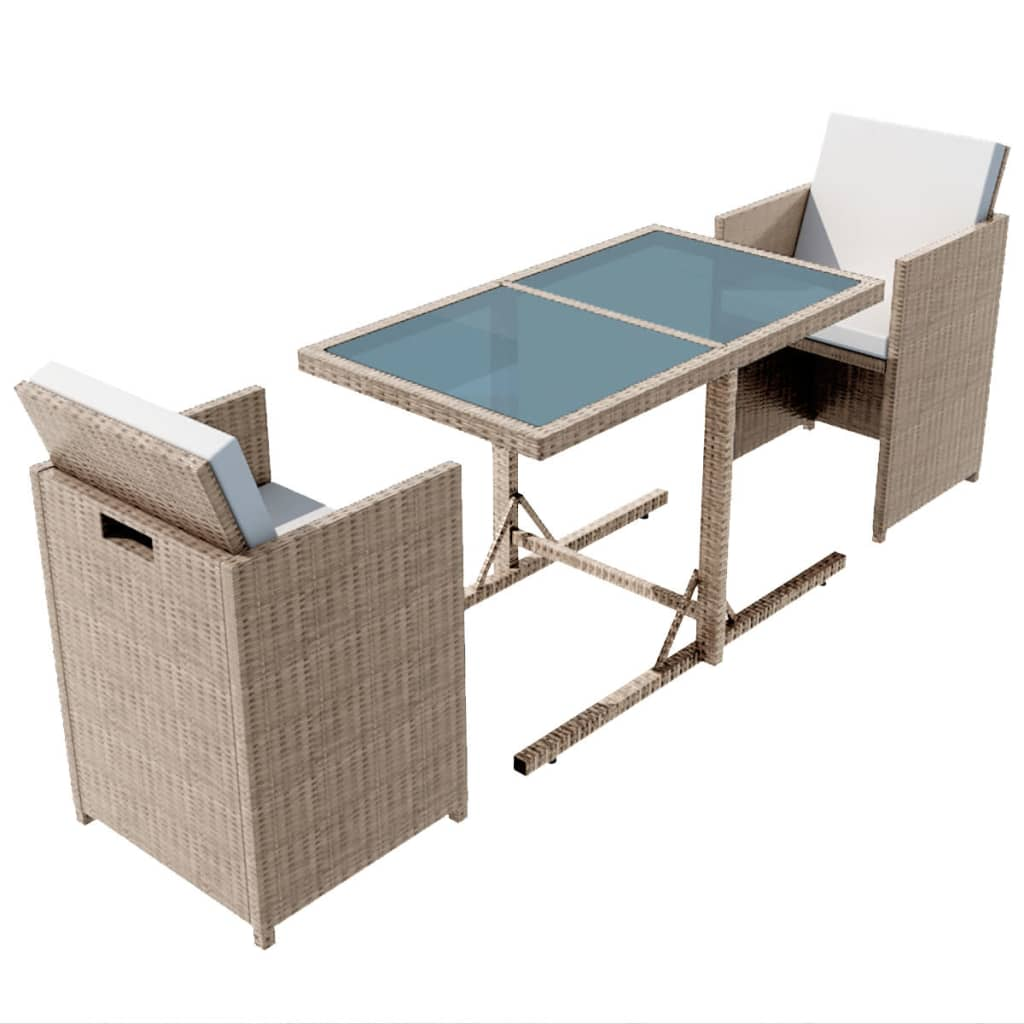 3 Piece Bistro Set with Cushions Poly Rattan Beige 2