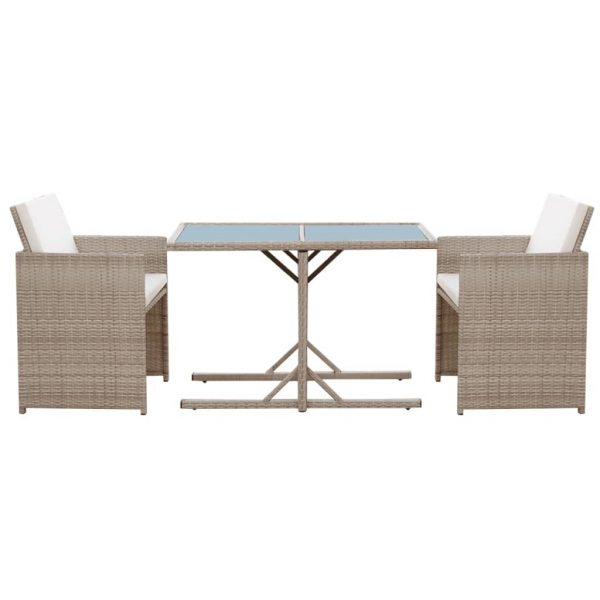 3 Piece Bistro Set with Cushions Poly Rattan Beige 5