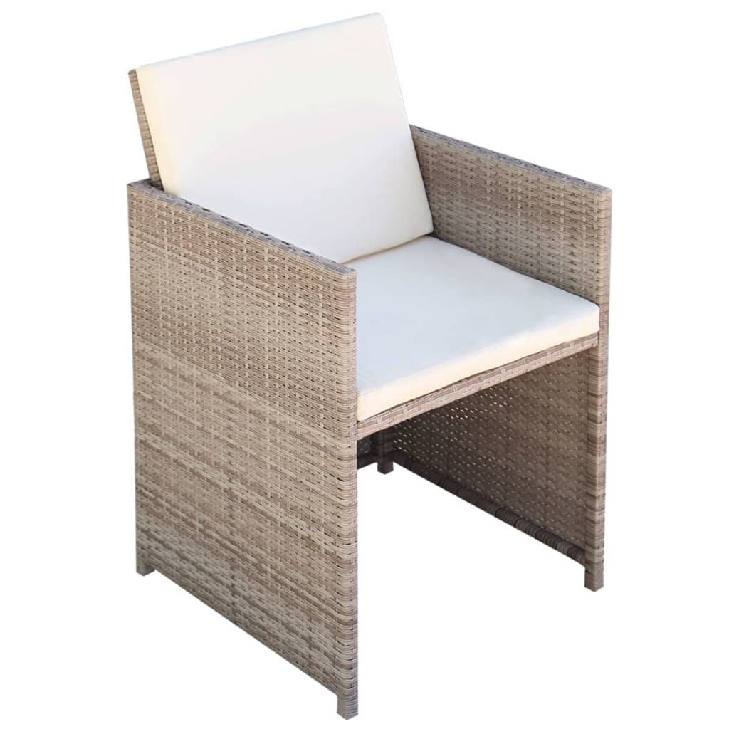 3 Piece Bistro Set with Cushions Poly Rattan Beige 8