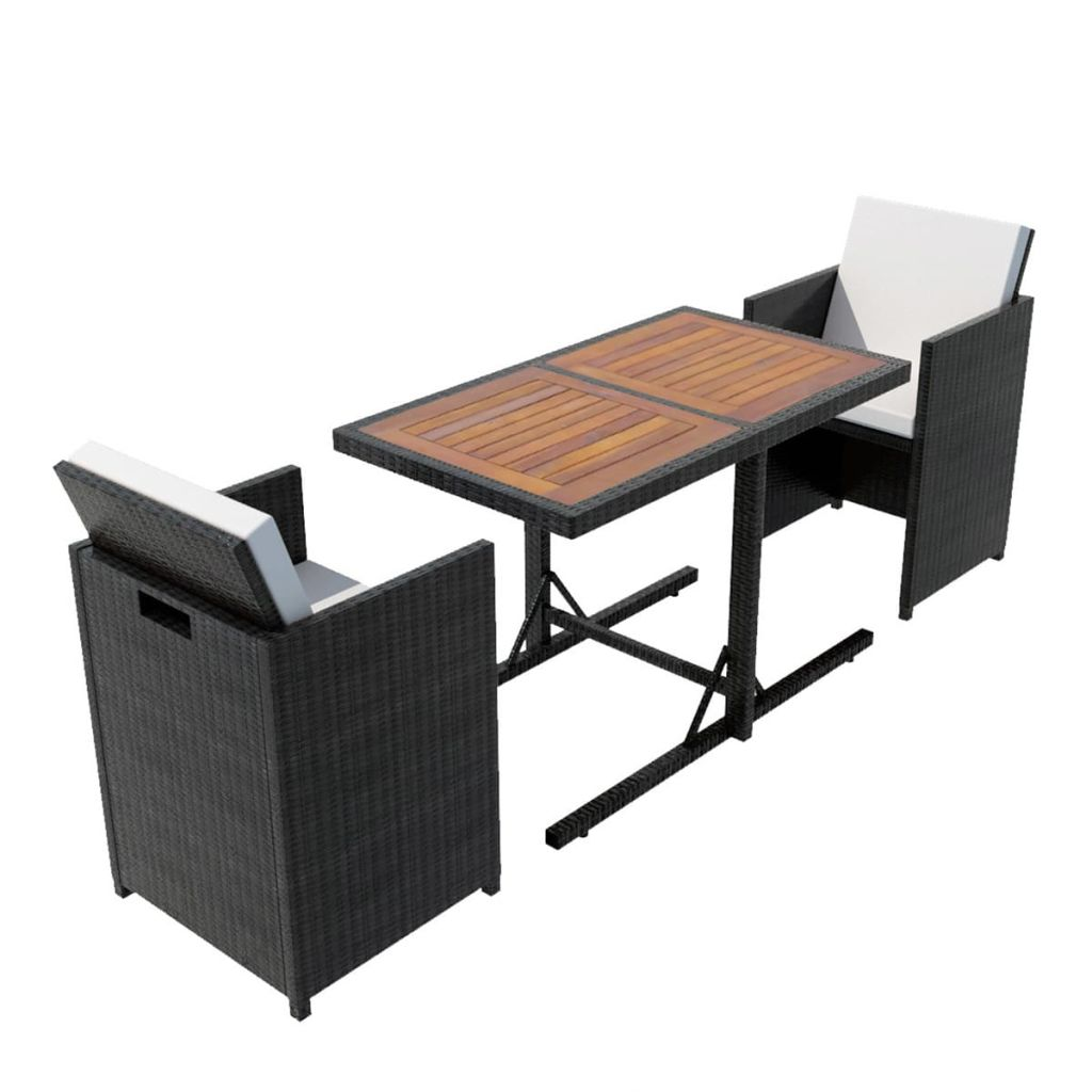3 Piece Bistro Set with Cushions Poly Rattan Black 2