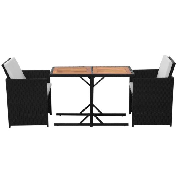 3 Piece Bistro Set with Cushions Poly Rattan Black 3