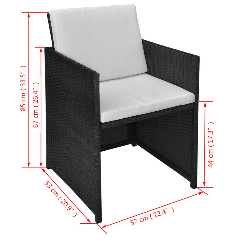 3 Piece Bistro Set with Cushions Poly Rattan Black 11