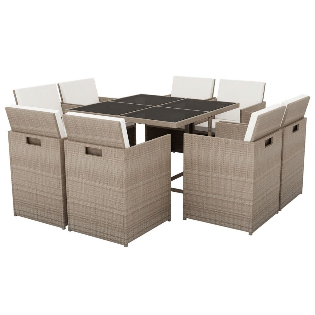 9 Piece Outdoor Dining Set with Cushions Poly Rattan Beige 2