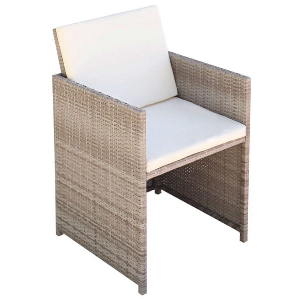9 Piece Outdoor Dining Set with Cushions Poly Rattan Beige 4