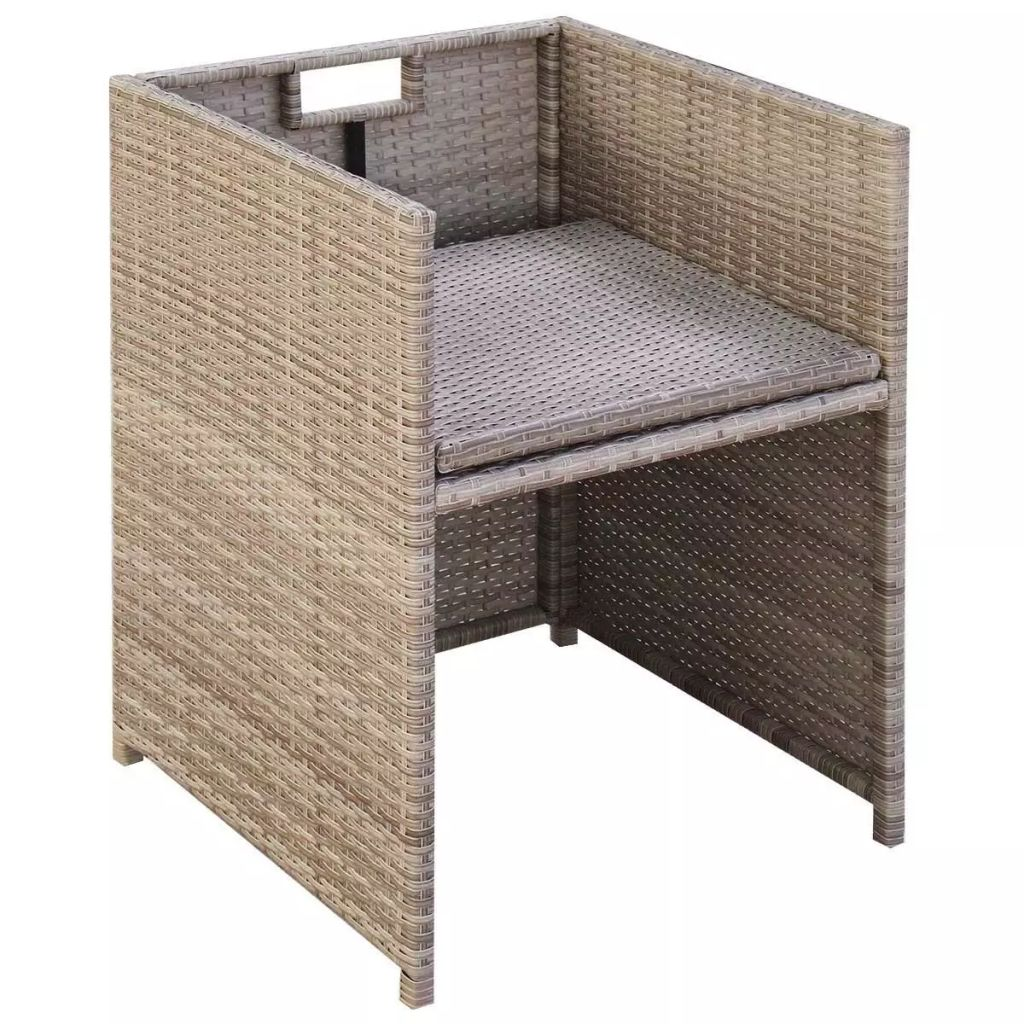 9 Piece Outdoor Dining Set with Cushions Poly Rattan Beige 5