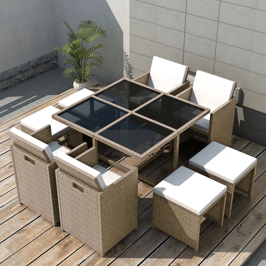 9 Piece Outdoor Dining Set with Cushions Poly Rattan Beige 1