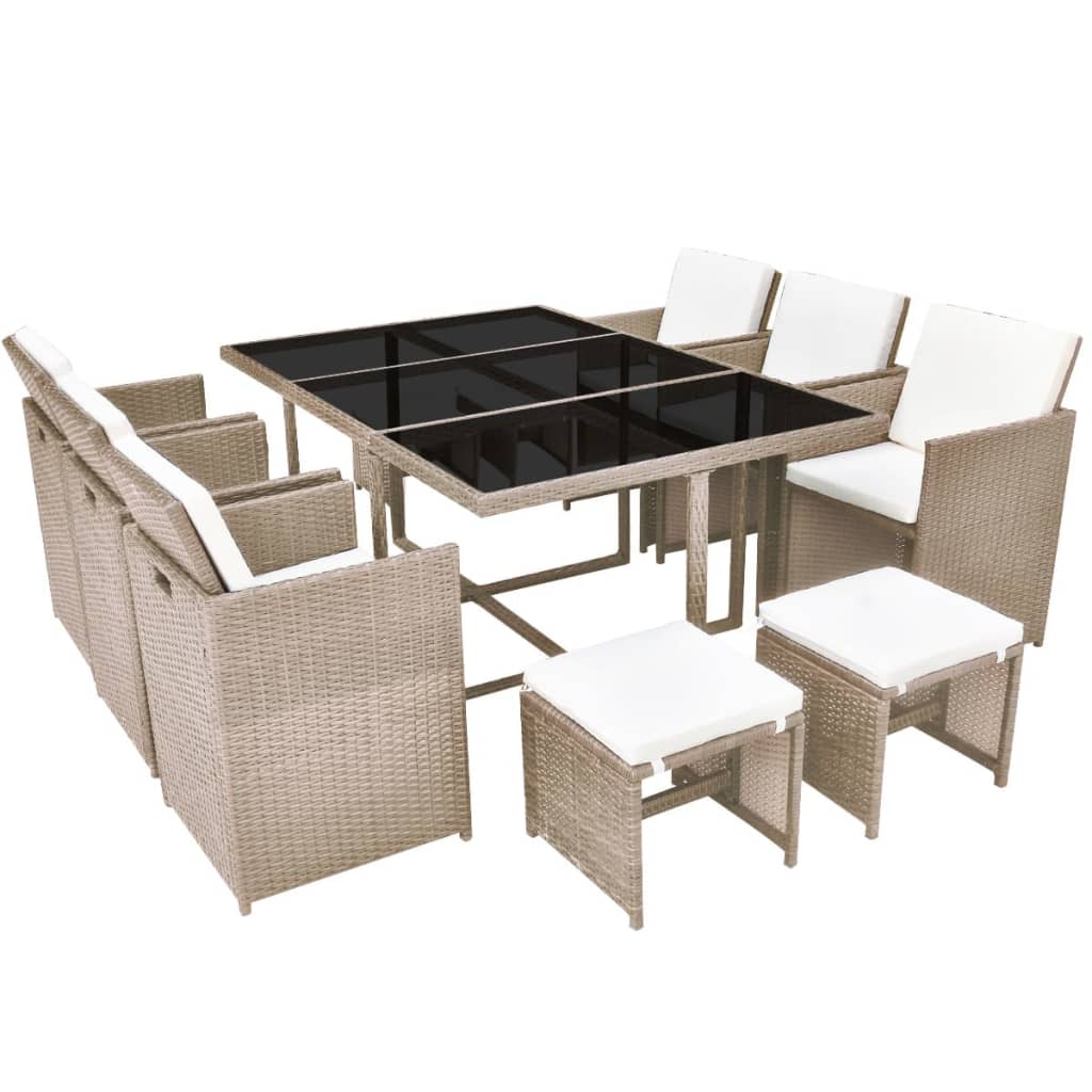11 Piece Outdoor Dining Set with Cushions Poly Rattan Beige 2